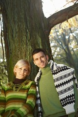 Young couple outdoor at autumn