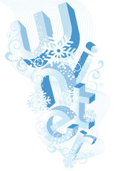 winter background with with 3D letters, vector