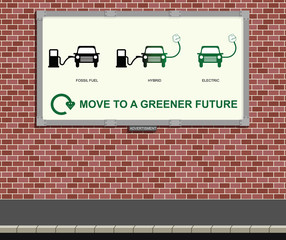 Advertising board mounted on wall with green vehicle message