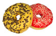 Two colored donuts isolated on white