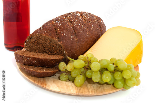 whole meal bread wine and cheese