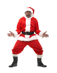 surprised black santa claus over white background