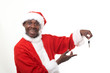 happy black santa claus holding car keys