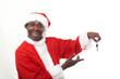 happy black santa claus holding car keys