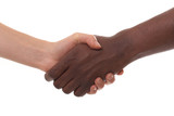 black and white men shaking hands