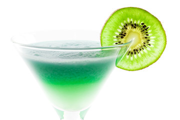 Alcohol cocktail with kiwi slice