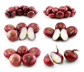 Set of Ripe Red Onion Isolated on White