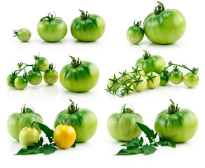 Set of Ripe Yellow and Green Tomatoes Isolated on White