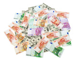 Roubles, dollars and euros background poster