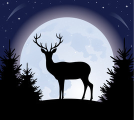 Deer and the moon.