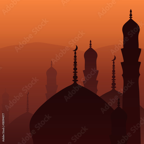 Skyline with minarets and domes of mosques.
