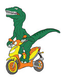 Raptor riding  a scooter. poster
