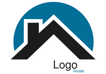 Logo maison toit rond bleu