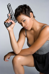 Sexy Spy Holding Gun