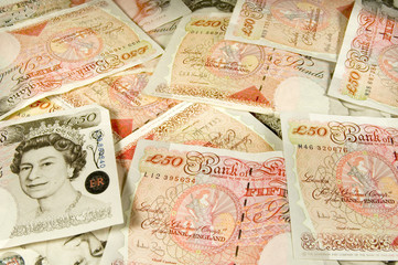 fifty pound note background
