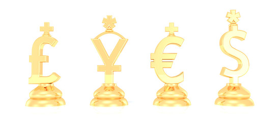 money symbols on white background