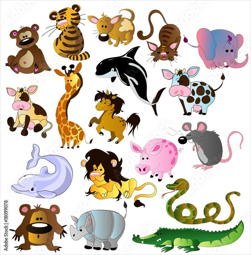 In de dag Zoo Cartoon animals vector