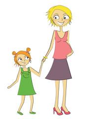 femme enceinte avec sa fille