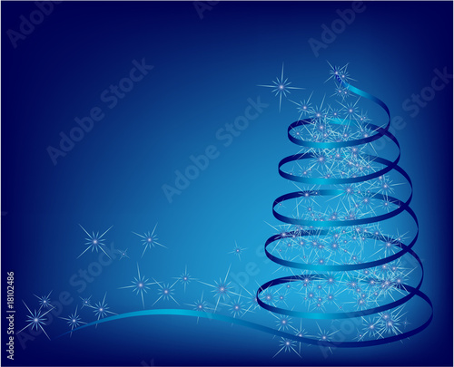blue abstract christmas tree. vector illustration