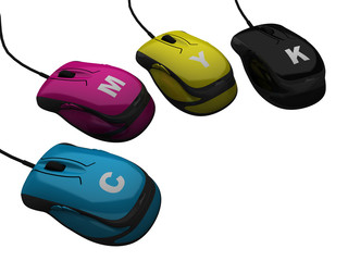 Control of CMYK colour the mouse