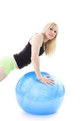 blonde with workout ball