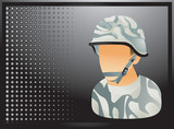 Camouflaged soldier on black halftone banner