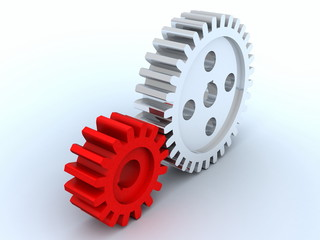 small gear from red plastic and big gear from metal