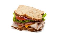 "Постер, картина, фотообои ""Turkey sandwich on white background"""