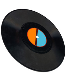 vintage vinyl 78rpm record,clipping path, coal,blue label, frame