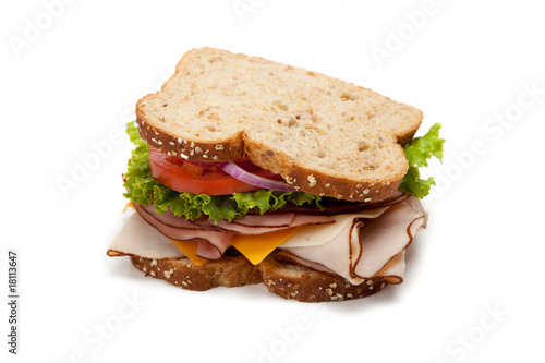 Fotobehang Snack Turkey sandwich on white background