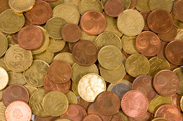 background of euro coins isolated