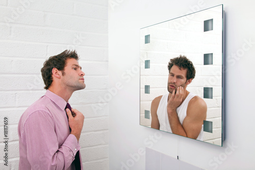Two sides of getting ready in the morning Poster