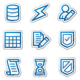 Database web icons, blue contour sticker series poster