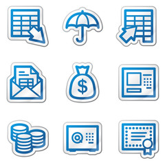 Banking web icons, blue contour sticker series