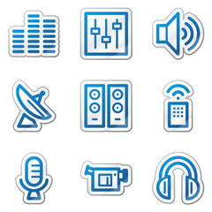 Media web icons, blue contour sticker series