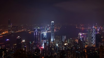 Overview of Hongkong China by night from the Peak