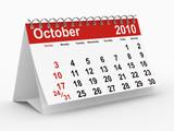 2010 year calendar on white. October poster