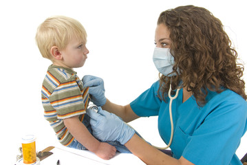 Health Care Professional listens to toddlers breathing