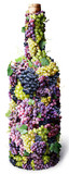 Vine bottle twined round with clusters of grape poster
