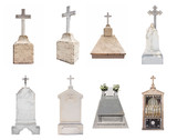Set of various gravestones isolated on white background poster