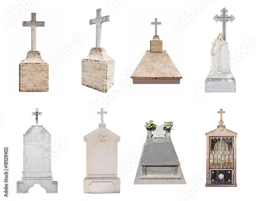 Set of various gravestones isolated on white background