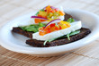 Pumpernickel and haloumi cheese sandwich