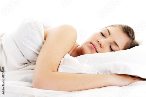 Leinwanddruck Bild beautiful resting woman cover white blanket