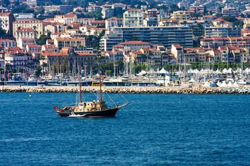 Luxury Schooner on Coast of Cannes