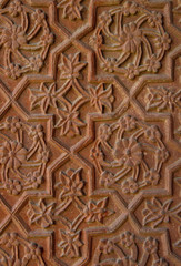 Stone carvings on the temple wall. Fatehpur Sikri, India
