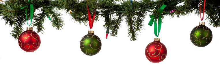 Christmas ornament hanging from garland