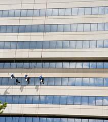 Three Window Washers on Ropes