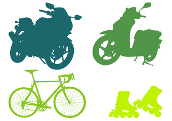 Collection of transportation silhouettes