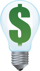 Light bulb with dollar sign