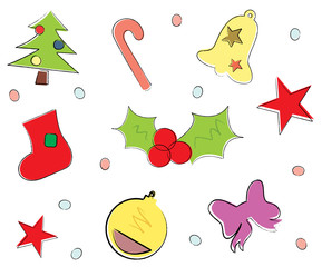 Drawing Christmas icons - vector holiday illustration